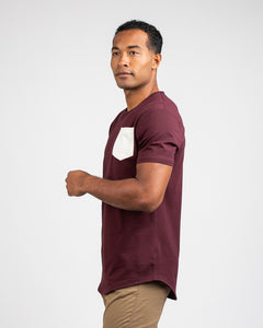 Maroon/Bone - Drop-Cut LUX Pocket Shirt