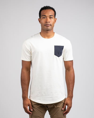 Drop-Cut: LUX Pocket Bone/Navy - Drop-Cut LUX Pocket Shirt