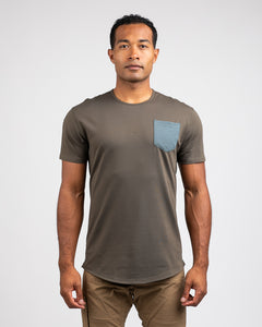 Stone/Pacific - Drop-Cut LUX Pocket Shirt