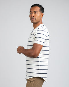 Bone/Navy - Striped Drop-Cut: LUX
