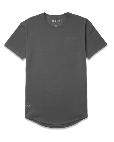 Drop-Cut Solid Pocket Shirt Charcoal
