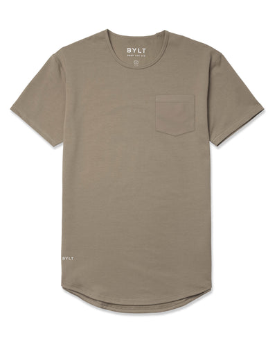 Drop-Cut Solid Pocket Shirt Olive