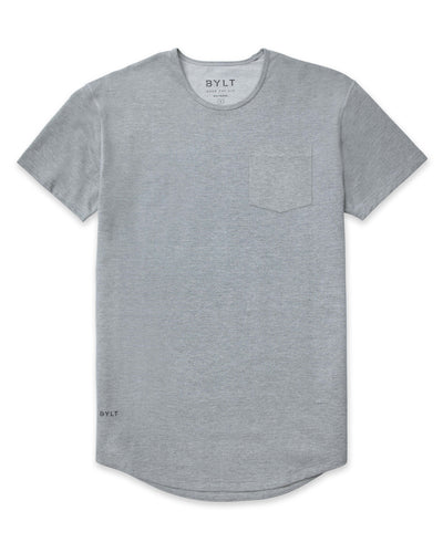 Drop-Cut Solid Pocket Shirt Grey