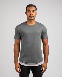 Charcoal/Iris - Layered Drop-Cut LUX Shirt