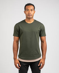 Forest/Sand - Layered Drop-Cut LUX Shirt