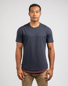 Navy/Maroon Microdot - Layered Drop-Cut LUX Shirt