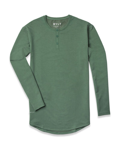 Henley Drop-Cut Long Sleeve: LUX Pine