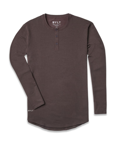 Henley Drop-Cut Long Sleeve: LUX Chocolate