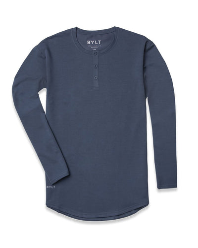 Henley Drop-Cut Long Sleeve Midnight