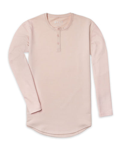 Henley Drop-Cut Long Sleeve Satin
