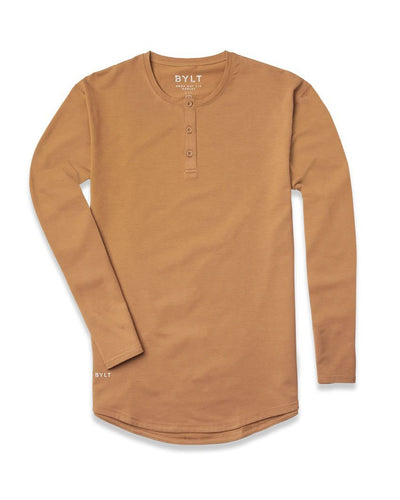 Henley Drop-Cut Long Sleeve - 2019 Style - (FINAL SALE) Toast - Henley Drop-Cut Long Sleeve