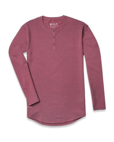 Henley Drop-Cut Long Sleeve Wine