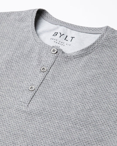 Henley Drop-Cut: LUX Microdot Grey/Charcoal