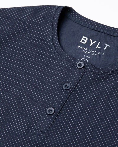 Henley Drop-Cut: LUX Microdot Navy/Grey