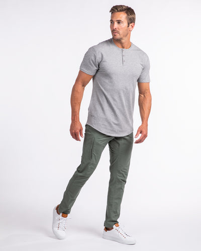 Henley Drop-Cut: LUX Heather Grey