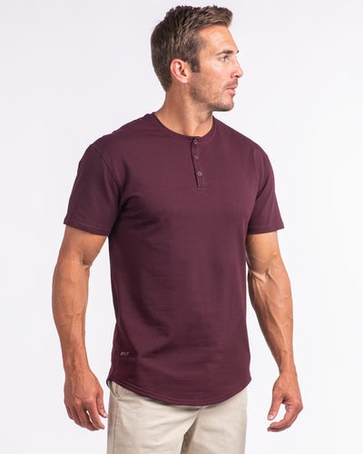 Henley Drop-Cut: LUX <!-- Size S --> Maroon
