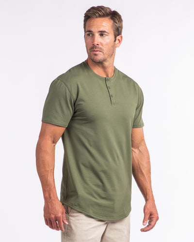 Henley Drop-Cut <!-- Size M --> Military Green