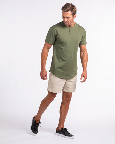 Henley Drop-Cut <!-- Size S --> Military Green