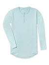 Henley Drop-Cut Long Sleeve: LUX Sea Breeze