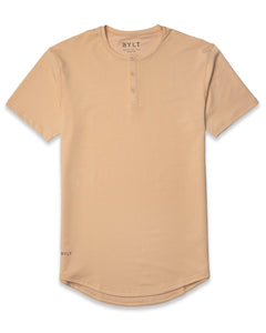Almond -  Henley Drop-Cut: LUX