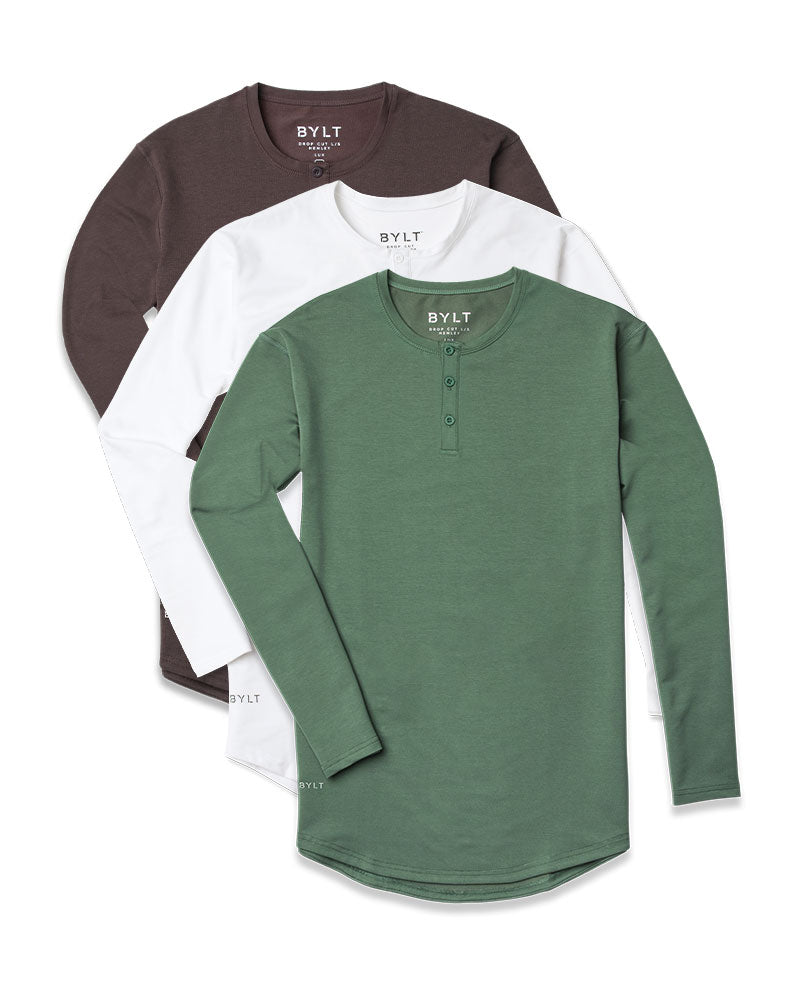 Henley Drop-Cut L/S: LUX Custom 3 Pack