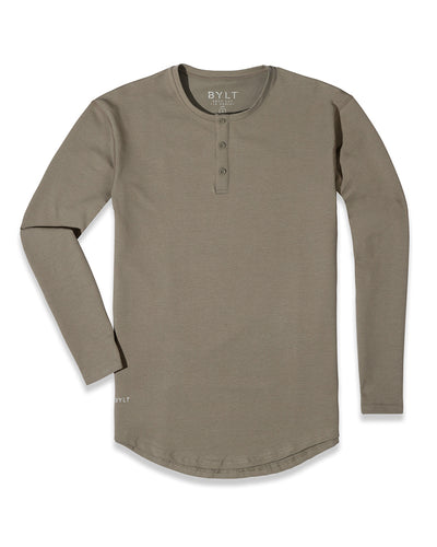 Henley Drop-Cut Long Sleeve: LUX Olive