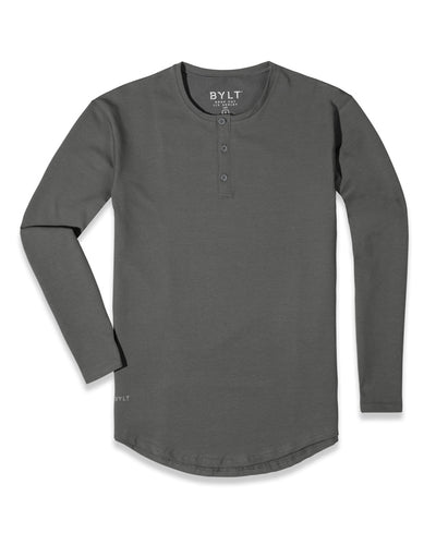 Henley Drop-Cut Long Sleeve: LUX Charcoal