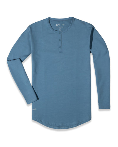 Henley Drop-Cut Long Sleeve: LUX (FINAL SALE) Denim