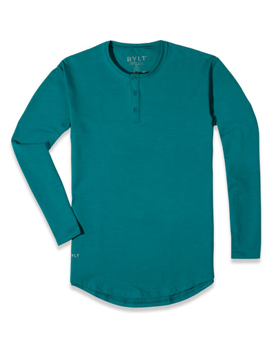 Henley Drop-Cut Long Sleeve: LUX (FINAL SALE) Harbor Blue