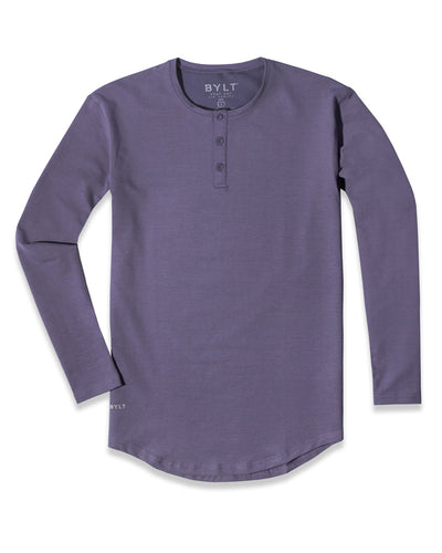 Henley Drop-Cut Long Sleeve: LUX (FINAL SALE) Vintage Purple