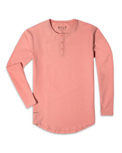 Henley Drop-Cut Long Sleeve: LUX (FINAL SALE) Salmon