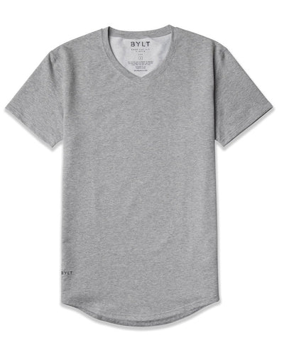 Drop-Cut V-Neck: LUX Heather Grey