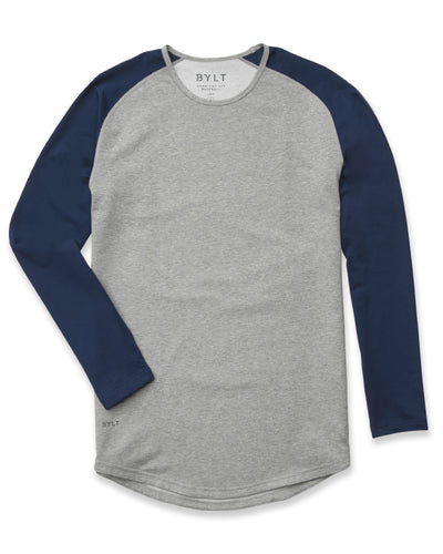Baseball Drop-Cut Long Sleeve: LUX Heather Grey/Navy
