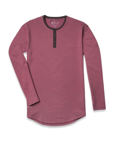 Henley Drop-Cut Accent Long Sleeve: LUX Wine Chocolate