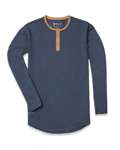 Henley Drop-Cut Accent Long Sleeve: LUX Midnight Toast
