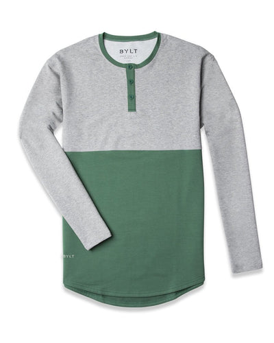 Henley Drop-Cut Accent Long Sleeve: LUX Pine Heather Grey