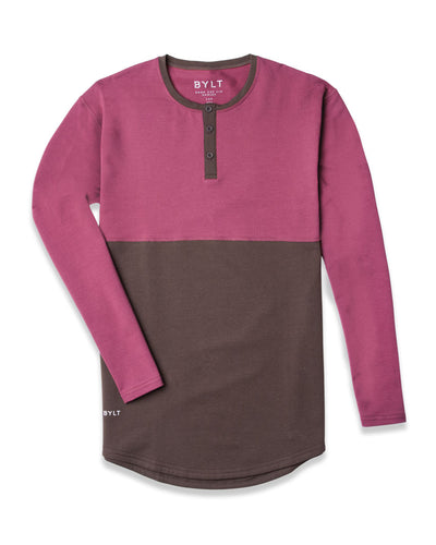Henley Drop-Cut Accent Long Sleeve: LUX Chocolate Wine