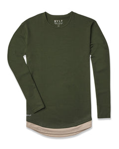 Forest/Sand Layer - Drop-Cut Long Sleeve LUX