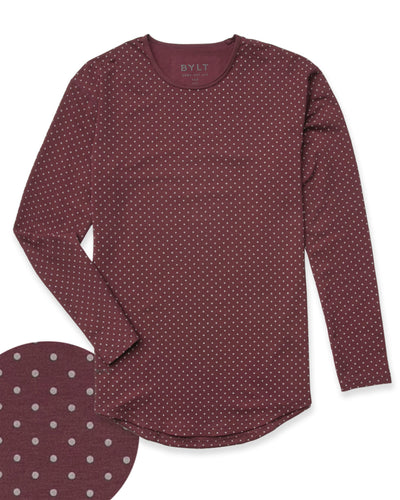 Dotted Drop-Cut Long Sleeve: LUX Maroon/Grey