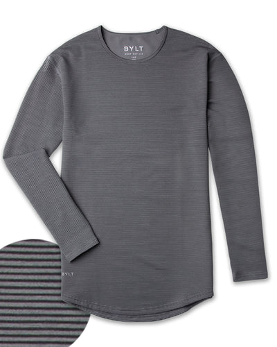 Drop-Cut Long Sleeve: LUX <!-- Size S --> Stripe/Charcoal/Black