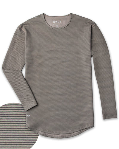 Drop-Cut Long Sleeve: LUX <!-- Size S --> Stripe/Olive/Charcoal