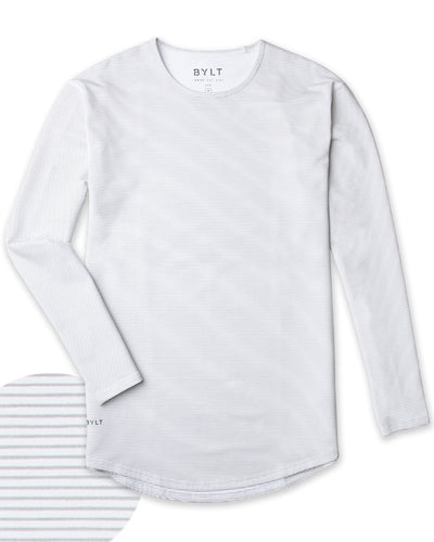 Drop-Cut Long Sleeve: LUX <!-- Size S --> Stripe/White/Grey