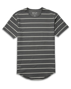 Charcoal/Bone - Striped Drop-Cut: LUX