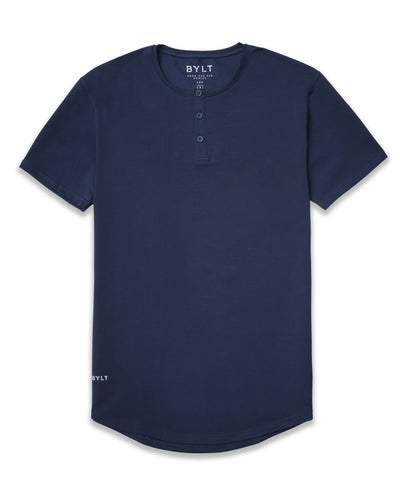 Henley Drop-Cut: LUX <!-- Size S --> Navy Henley Drop-Cut LUX Shirt