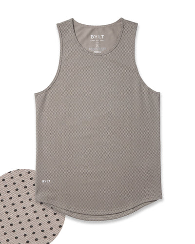 LUX Drop-Cut Tank: Microdot Olive/Black
