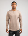 Henley Drop-Cut Long Sleeve: LUX Sand - Henley Drop-Cut: LUX Long Sleeve
