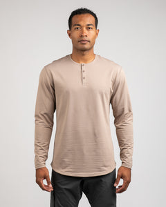 Sand - Henley Drop-Cut: LUX Long Sleeve