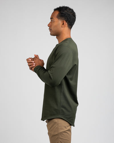 Henley Drop-Cut Long Sleeve: LUX Forest - Henley Drop-Cut: LUX Long Sleeve