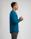 Henley Drop-Cut Long Sleeve: LUX Swell - Henley Drop-Cut: LUX Long Sleeve