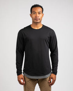 Black/Charcoal Layer - Drop-Cut Long Sleeve LUX